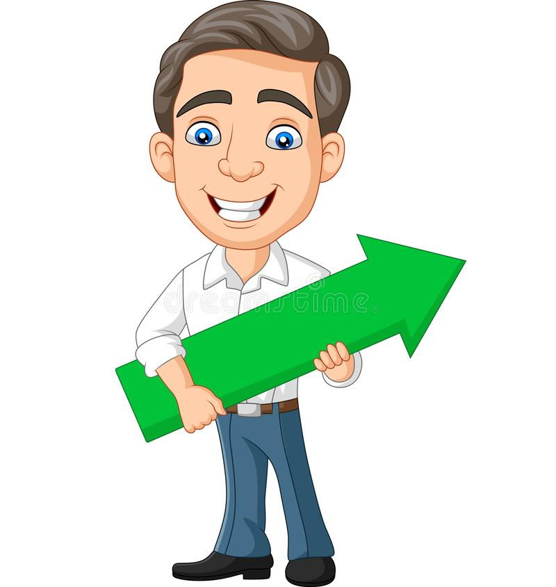 Cartoon young businessman holding a green arrow vector illustration