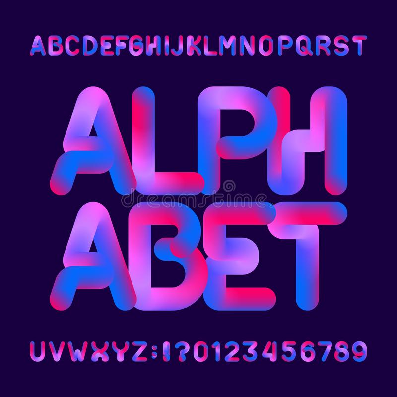 Flexible 3d alphabet font. Uppercase letters and numbers. stock illustration