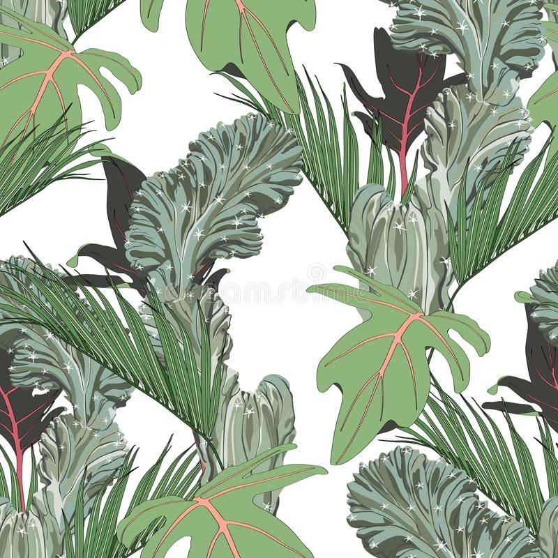 Exotic leaves, green tropical palms and cacti, white background. Floral seamless pattern. Tropical illustration. Summer beach design. Paradise nature vector illustration
