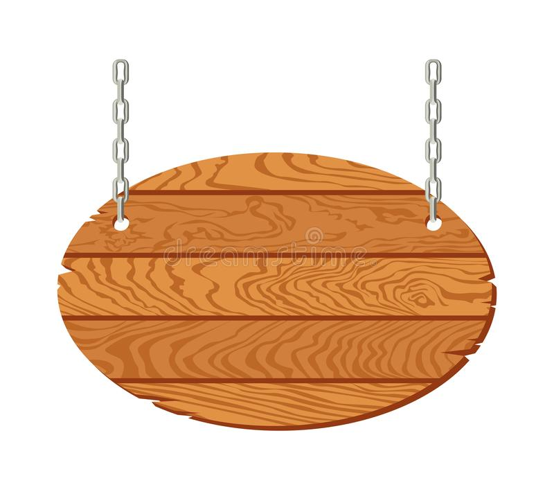 Wooden signboard hanging on chains isolated on white background. Oval sign of old rustic oak boards. Vector illustration in cartoon flat style vector illustration