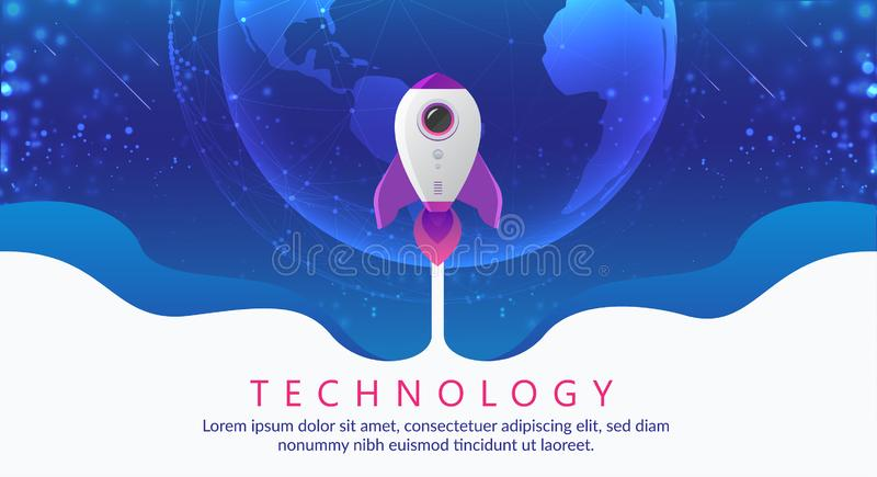 Concept of digital technology. Rocket flying to space. Theme background with light effect royalty free illustration