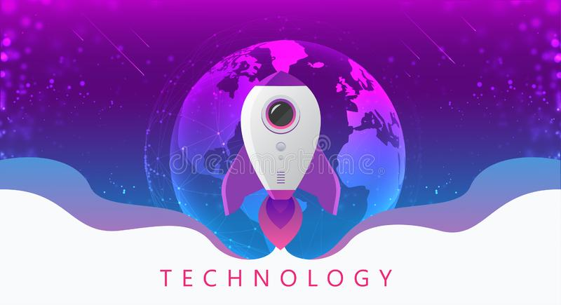 Concept of digital technology. Rocket flying from earth to space. Theme background with light effect. Vector illustration royalty free illustration