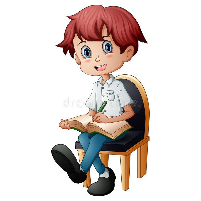 Little boy sitting in the chair with holding a book stock images