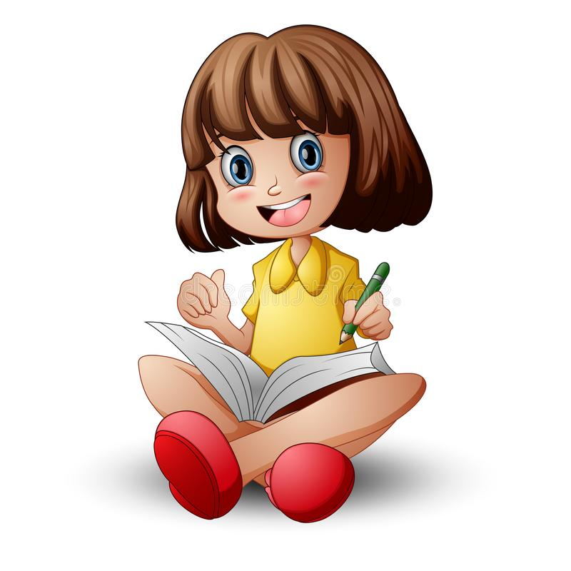 Little girl sitting with holding a book stock photo