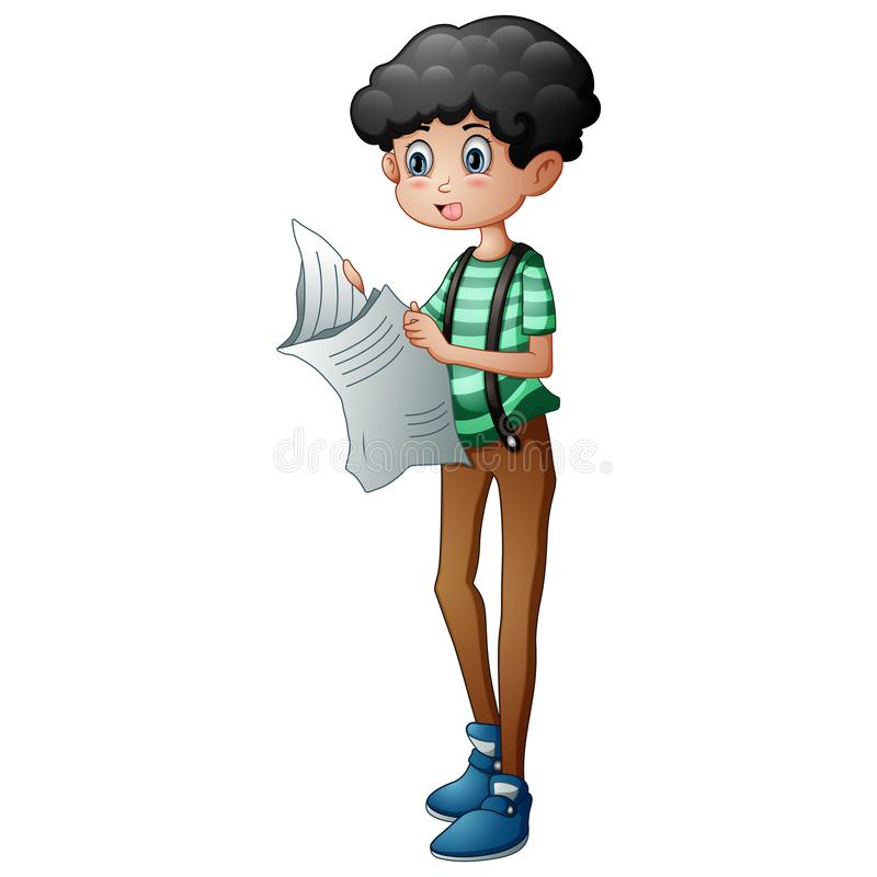 A young boy reading the newspaper royalty free stock photos
