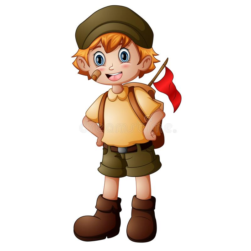 Boy explorer with scout uniform stock photos
