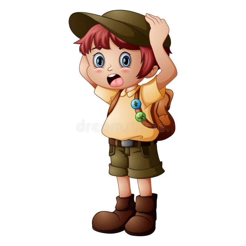Boy explorer with scout uniform stock images