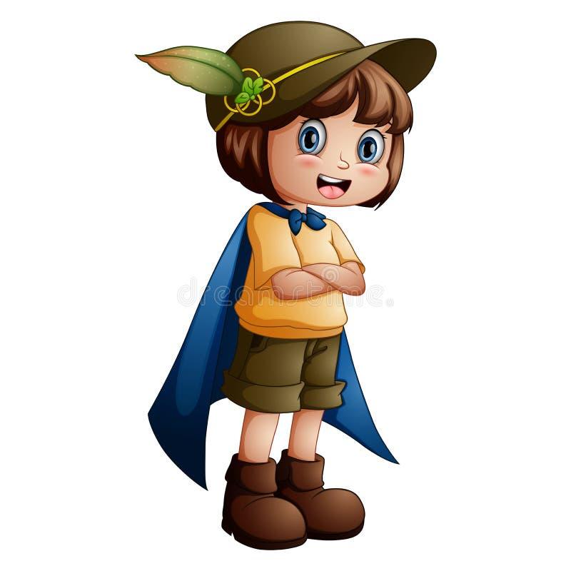Girl explorer with scout uniform stock photos