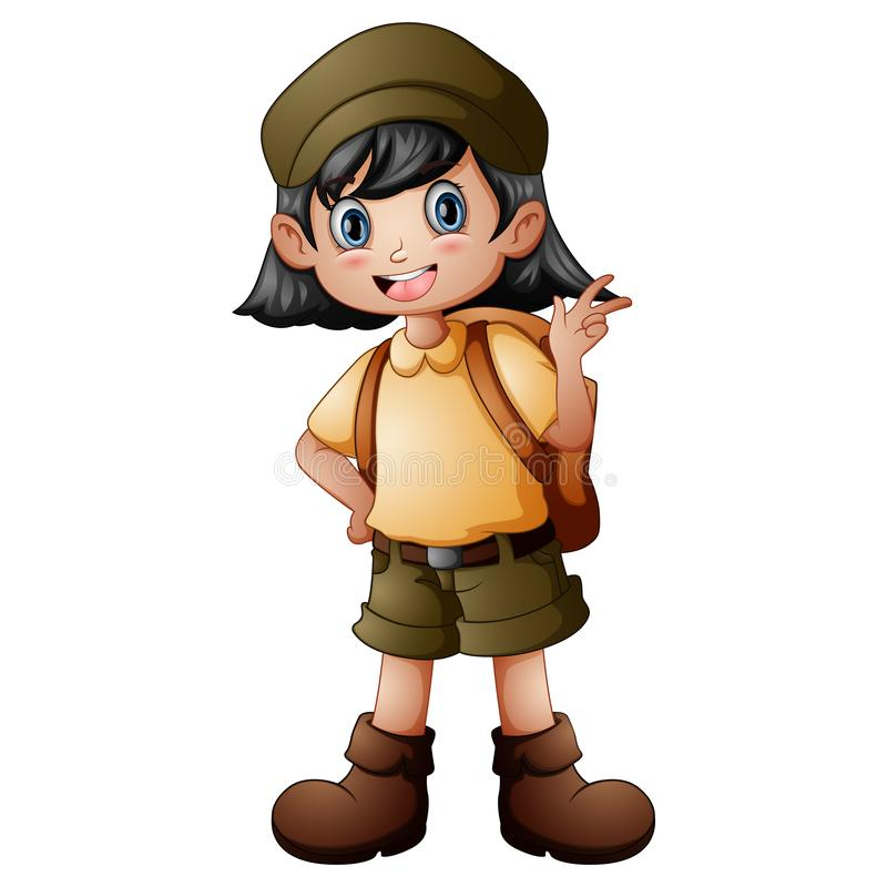 Girl explorer with scout uniform stock image