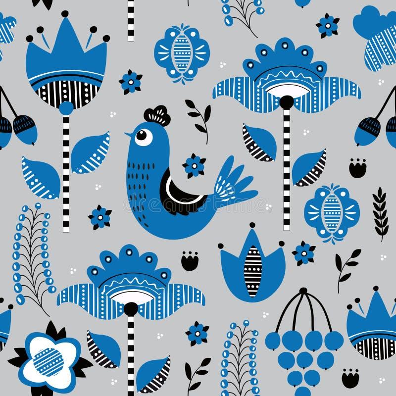 Folk floral seamless pattern stock illustration