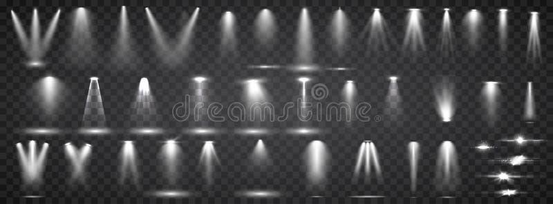 Scene illumination collection. Big set Bright lighting with spotlights. Spot lighting of the stage. royalty free illustration
