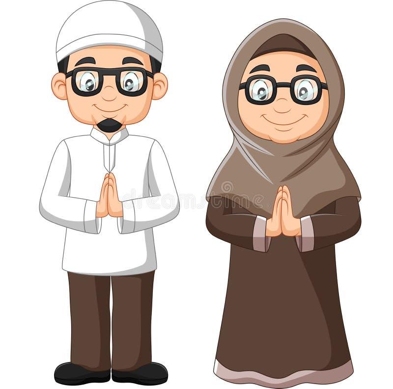 Cartoon old Muslim couple on white background royalty free illustration
