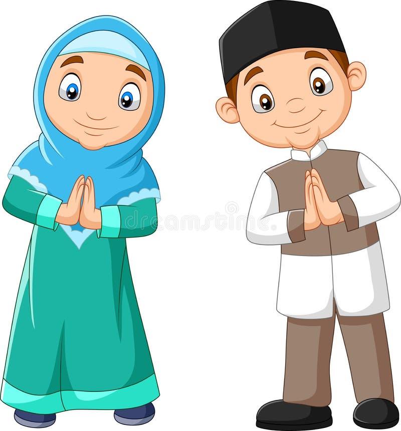 Happy Muslim kids cartoon on white background stock illustration