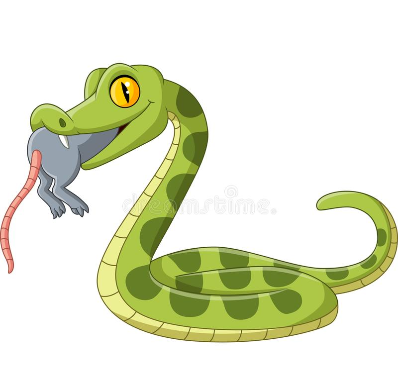 Cartoon green snake eating a mouse royalty free illustration