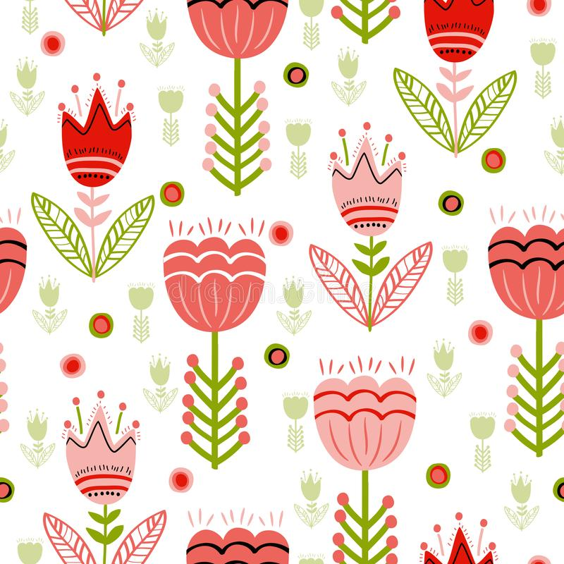 Seamless surface folk flower pattern stock illustration