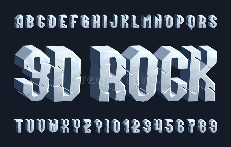 3D rock alphabet font. Cracked letters and numbers. Stock vector typescript for your typography design royalty free illustration