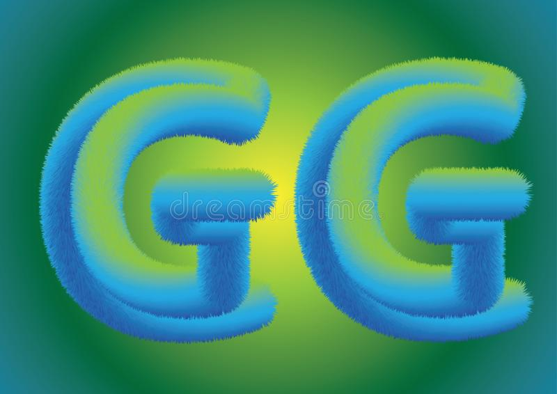 Fluffy flur. Beautiful soft GG letters. on green-yellow background royalty free illustration