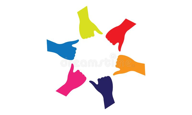 Many hands together group of people joining hands. Many hands together: group of people joining hands. Multiracial Hands Making a Circle. Conceptual symbol of stock illustration