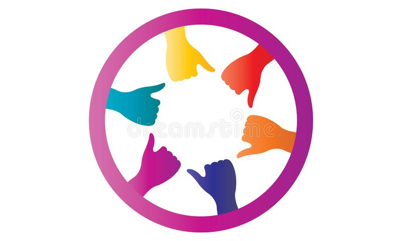 Many hands together group of people joining hands. Many hands together: group of people joining hands. Multiracial Hands Making a Circle. Conceptual symbol of vector illustration
