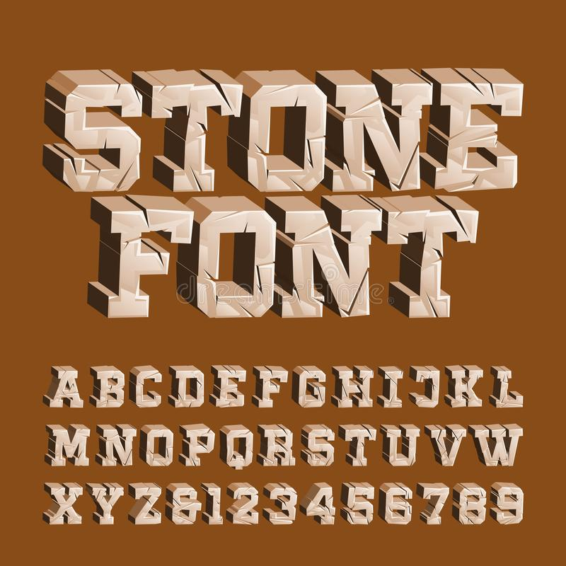 Cracked stone alphabet font. 3D damaged letters and numbers. Stock vector typescript for your typography design royalty free illustration