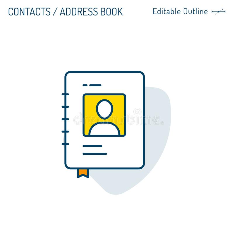 Contacts, Directory icon, Business links, Name tag, Social connections, address book, Communication, Business contacts, Document f stock illustration