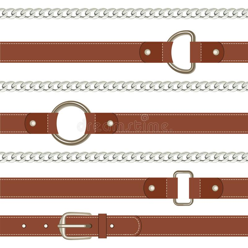 Brown belt and steel metal chain seamless pattern on white background. vector illustration