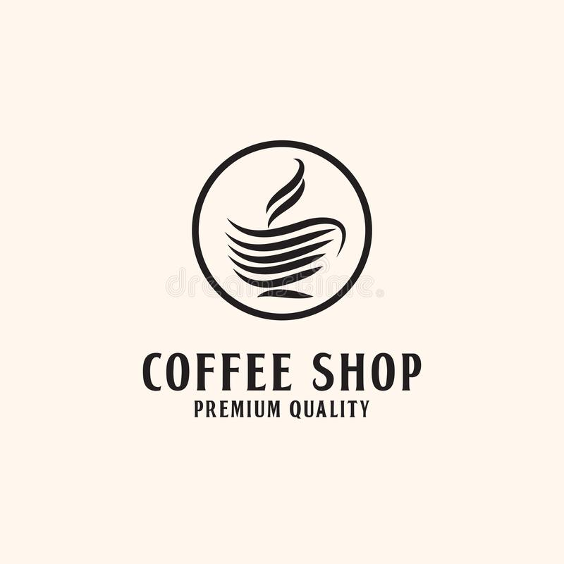 Premium Coffee shop Logo Design, with line style stock illustration