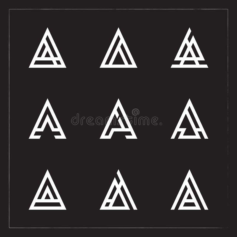 A triangle Letter logo Bundle stock illustration
