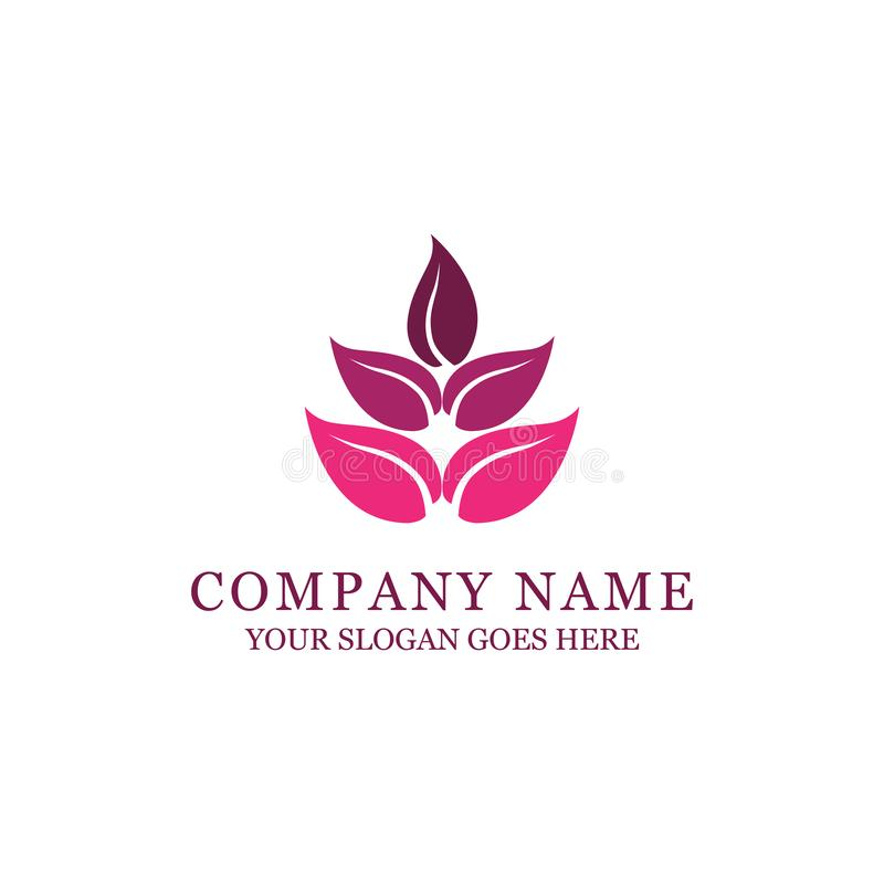 Spa and fashion style logo design with abstract flower royalty free illustration