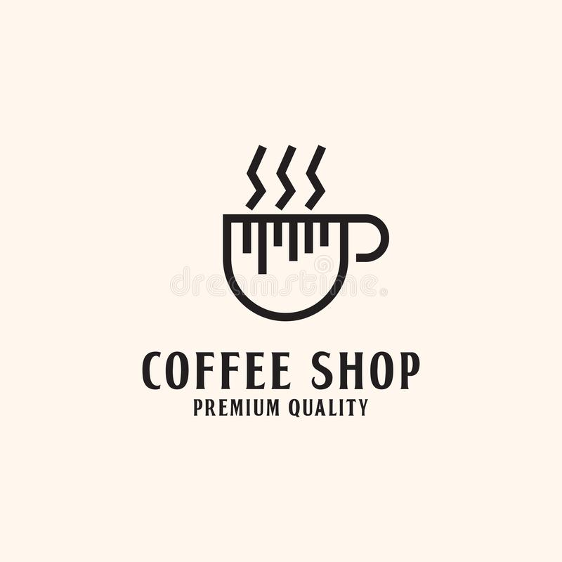 Simple Coffee shop Logo design, hot Coffee illustration stock illustration