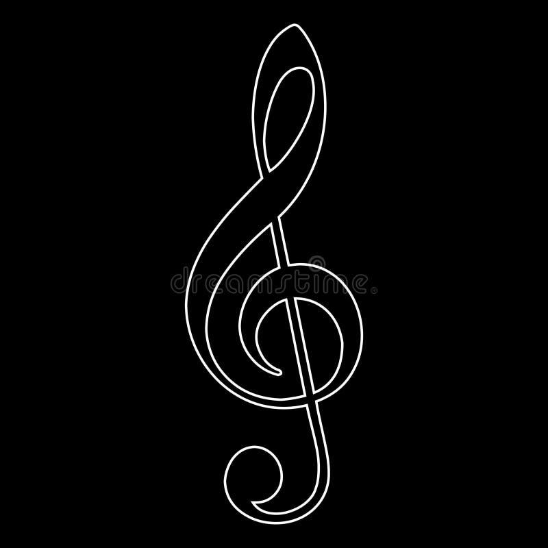 Treble clef icon, music note, vector illustration. Treble clef icon on black background, music note vector illustration vector illustration
