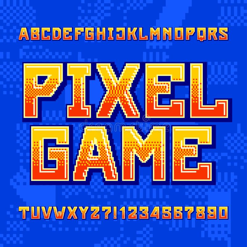 Pixel Game alphabet font. Digital gradient letters and numbers on pixelated background. 80s retro arcade video game typeface royalty free illustration