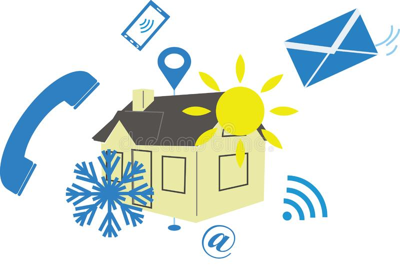 Air conditioning illustration for web contact page. Air conditioner contact page illustration representing a house with snowflake and sun icons, in the middle of vector illustration