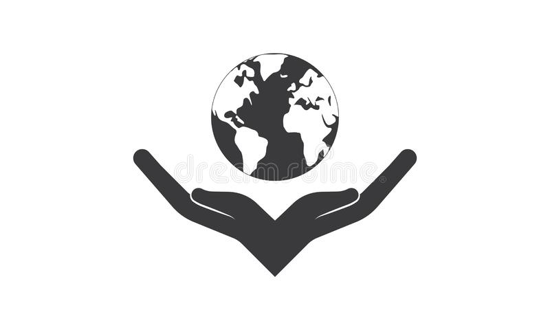 Colorful Hands Around of World and World Help Concept. Teamwork Concept and support world - Hands Join Teamwork Symbol and world map - Helping Sign Logo Symbol stock illustration