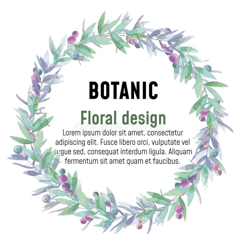 Botanic Wreath, floral frame, watercolor flowers royalty free illustration