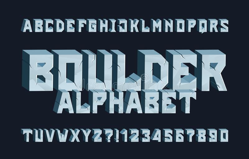 Boulder alphabet font. 3D Cracked letters and numbers. Stock vector typescript for your typography design royalty free illustration