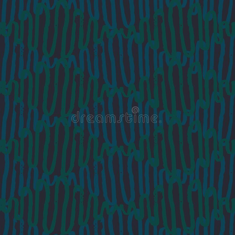 Seamless vector diamonds pattern with wavy lines in blue and green colors royalty free illustration