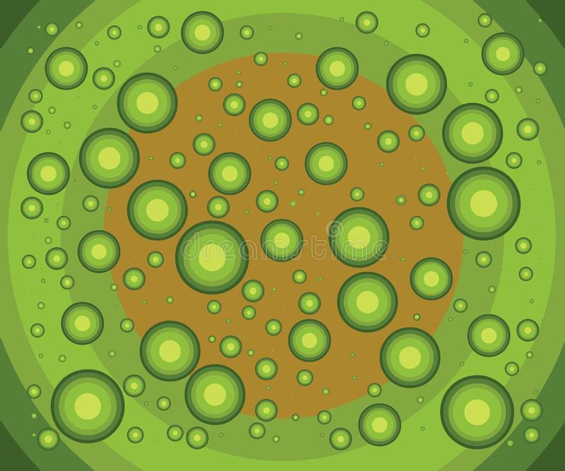 Weird little green balls. Falling together to infinite. stock illustration