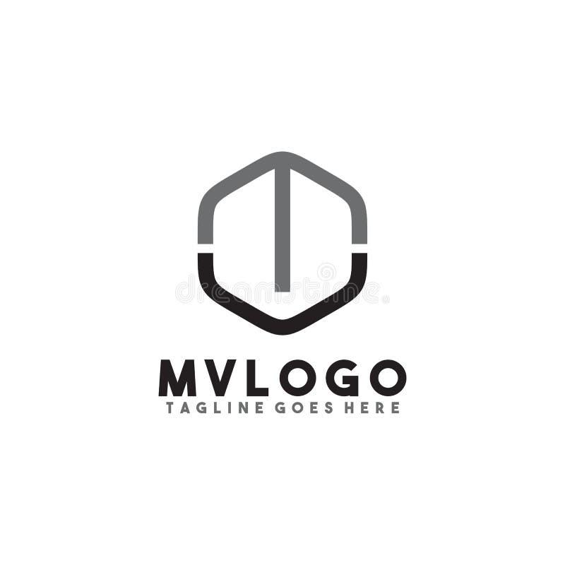 MV letter logo design vector template stock illustration