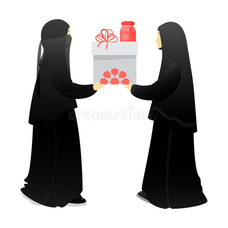 Muslim woman, sisters give a gift to each other. Prophet Mohammad Sunnah to give gifts. Birthday, anniversary, wedding, Ramadan, Eid al-Adha, Eid al-Fitr royalty free illustration