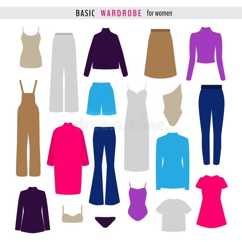 Set of colorful woman clothes stock illustration