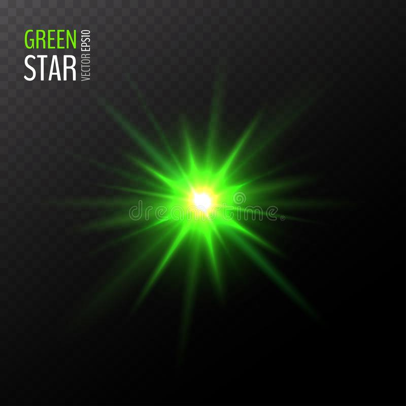 Vector shining green star royalty free illustration