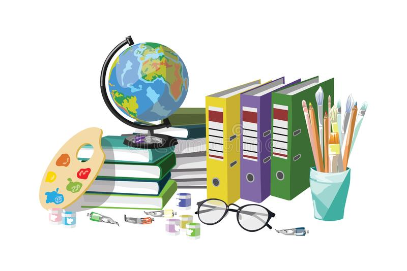 Collection of school supplies. stock image