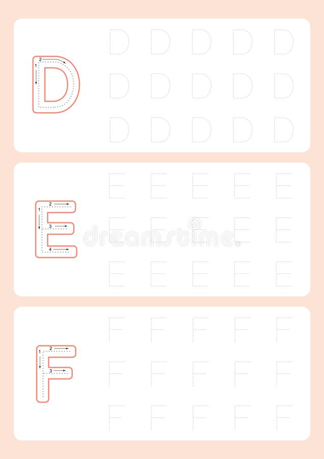 Kindergarten Tracing Letters Worksheets  Alphabet trace worksheet  vector. Illustration stock illustration
