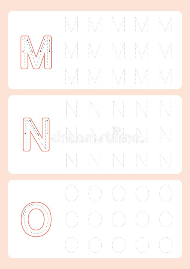 Kindergarten Tracing Letters Worksheets  Alphabet trace worksheet  vector. Illustration royalty free illustration
