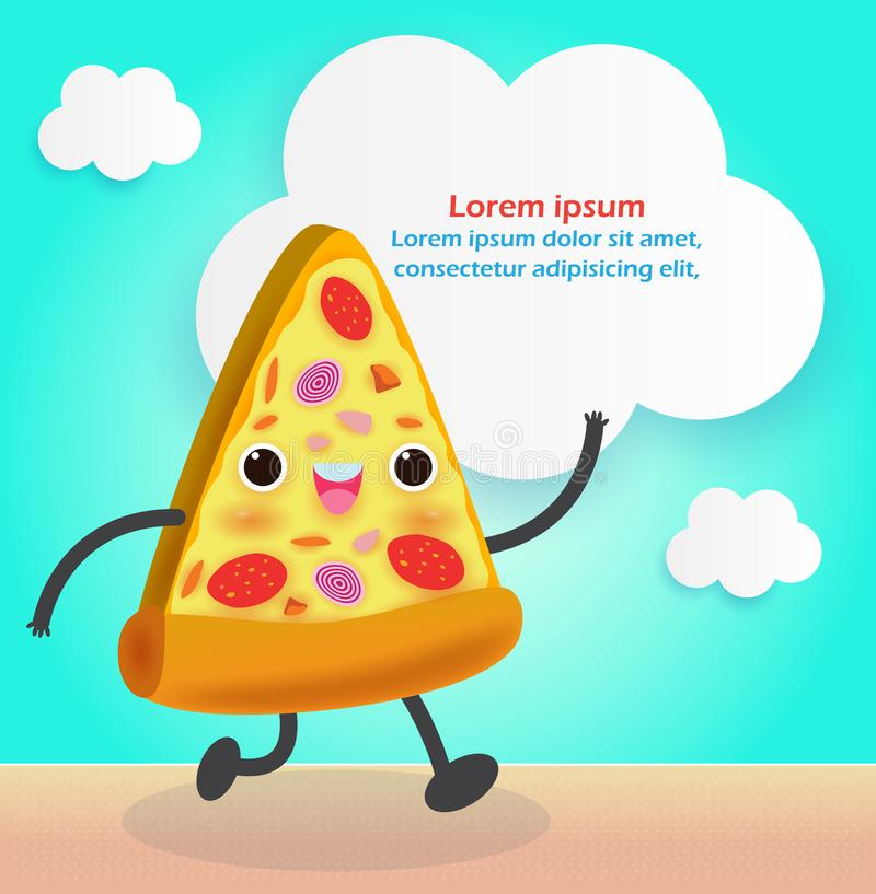 Pizza slice funny. Fastfood. Pizza poster design. Vector illustration cartoon character isolated on background stock illustration