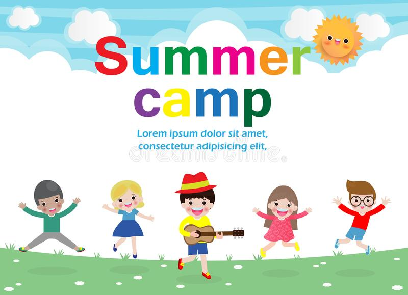Summer camp kids education concept Template for advertising brochure, activities on camping poster your text ,Vector Illustration royalty free illustration