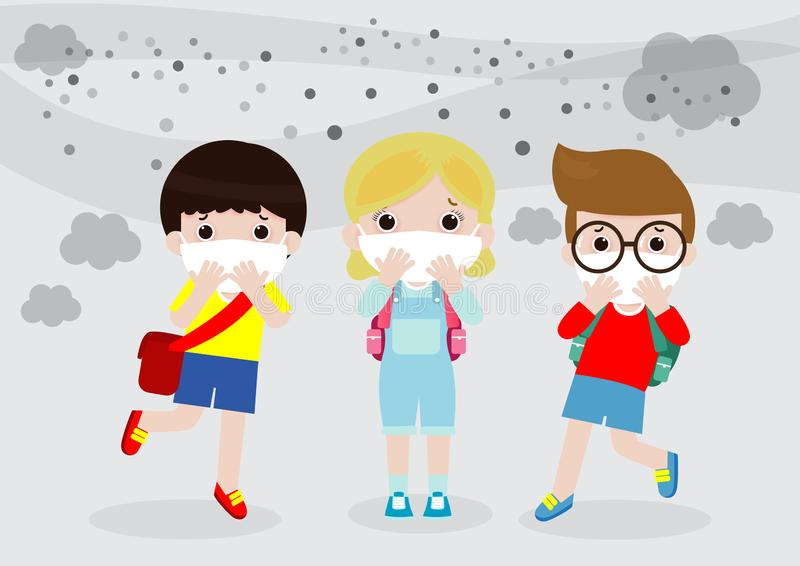 Kids in masks because of fine dust, boy and girl wearing mask against smog. Fine dust, air pollution, industrial smog protection c stock illustration