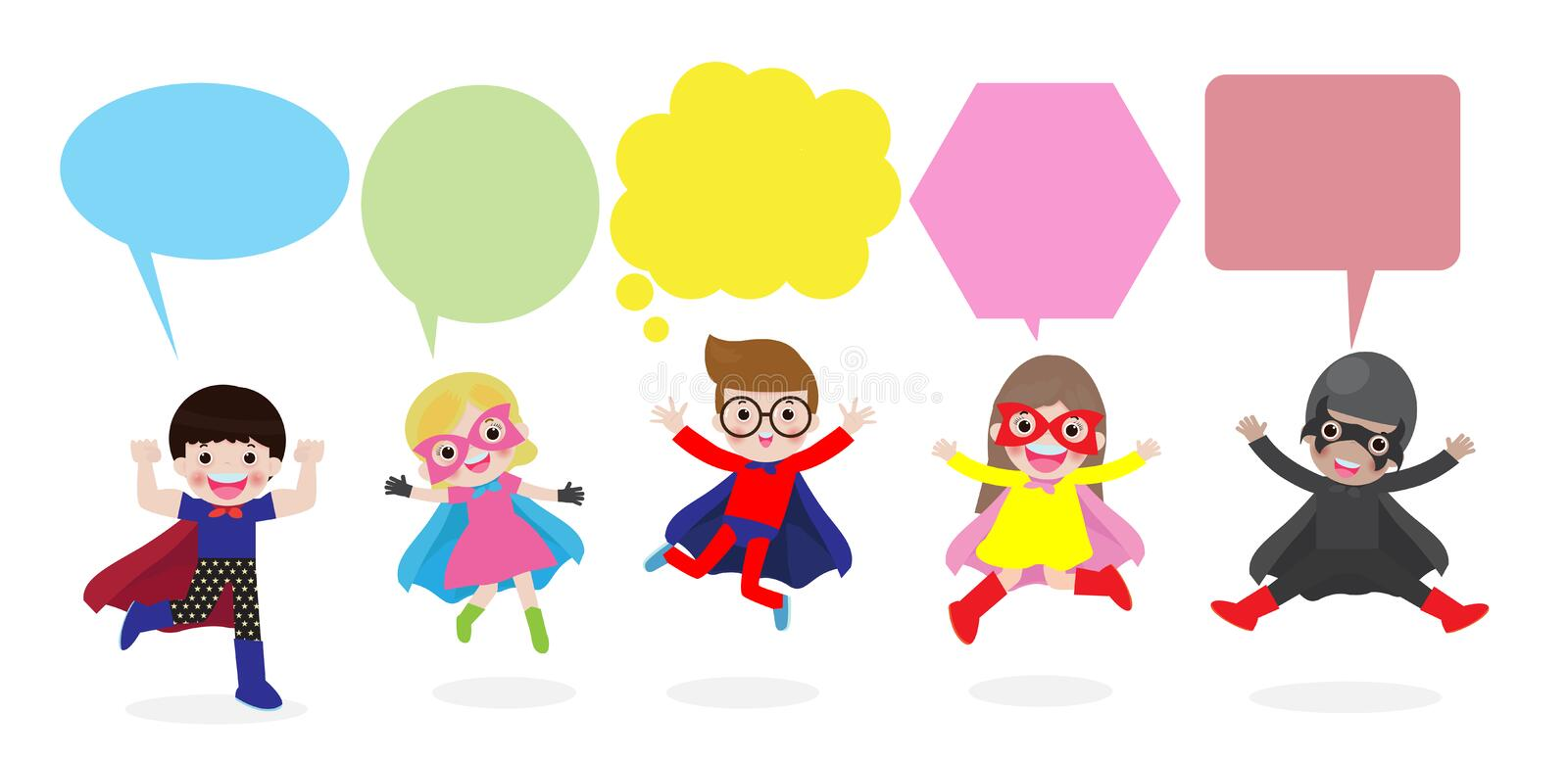 Cute superhero kids with speech bubbles, Set of superhero child with speech bubbles isolated on white background. Cute superhero kids with speech bubbles, Set royalty free illustration