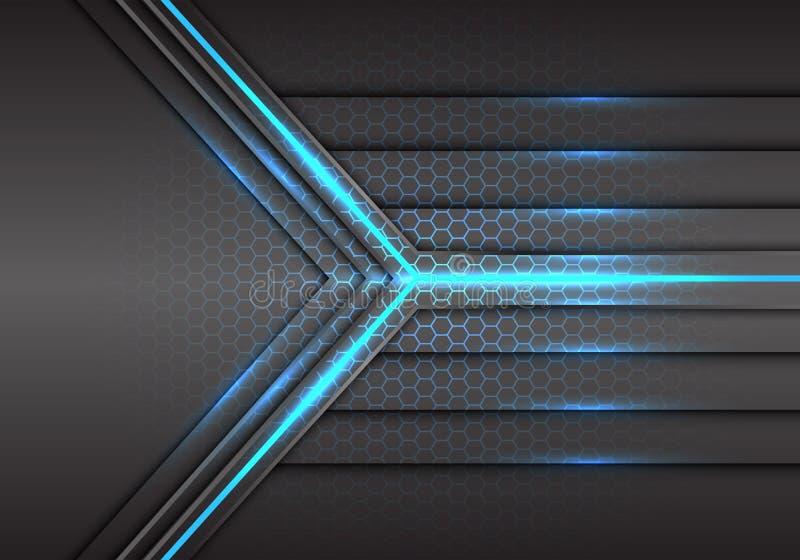 Abstract blue arrow light laser beam power with hexagon mesh pattern design modern technology futuristic background vector stock illustration